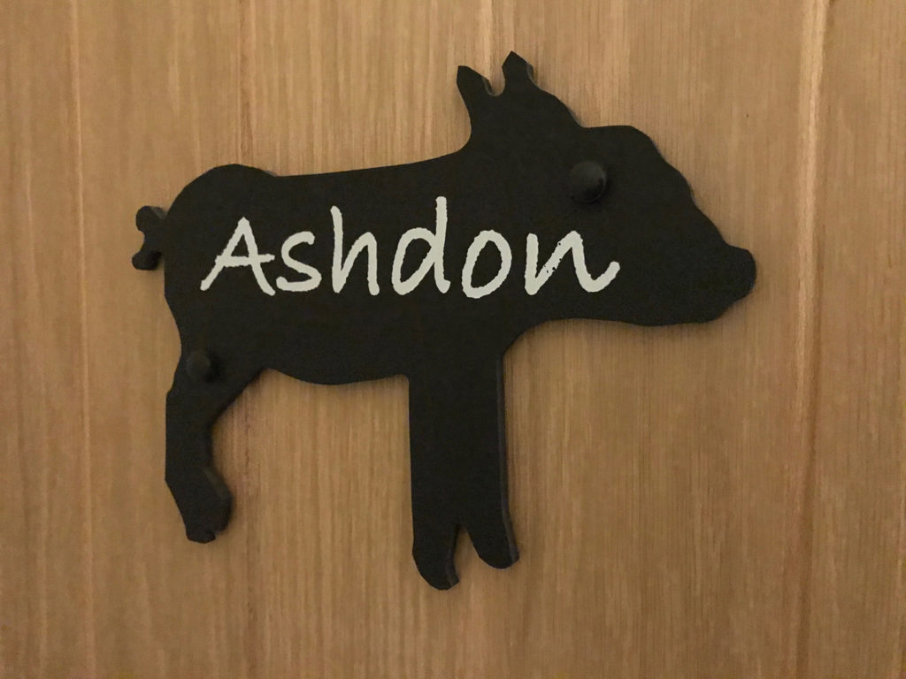 Ashdon bedroom sign at Piglets Boutique B&B