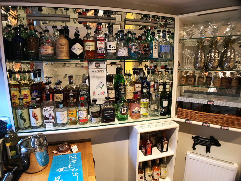 Licensed honour bar | Fully stocked honour bar | Gin library at boutique B&B
