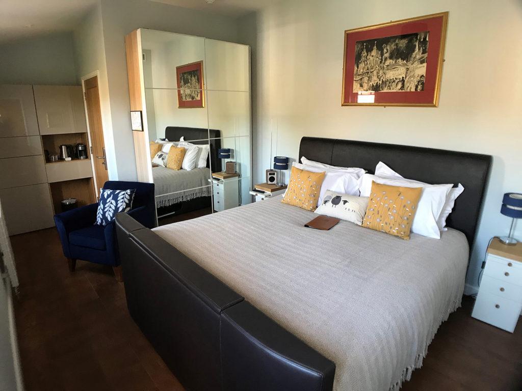 Sampford double bedroom | TV bed at luxury B&B | Super King en-suite bedroom at boutique B&B