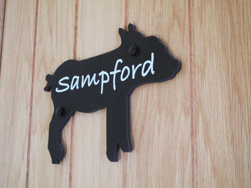 Sampford bedroom sign at Piglets Boutique B&B
