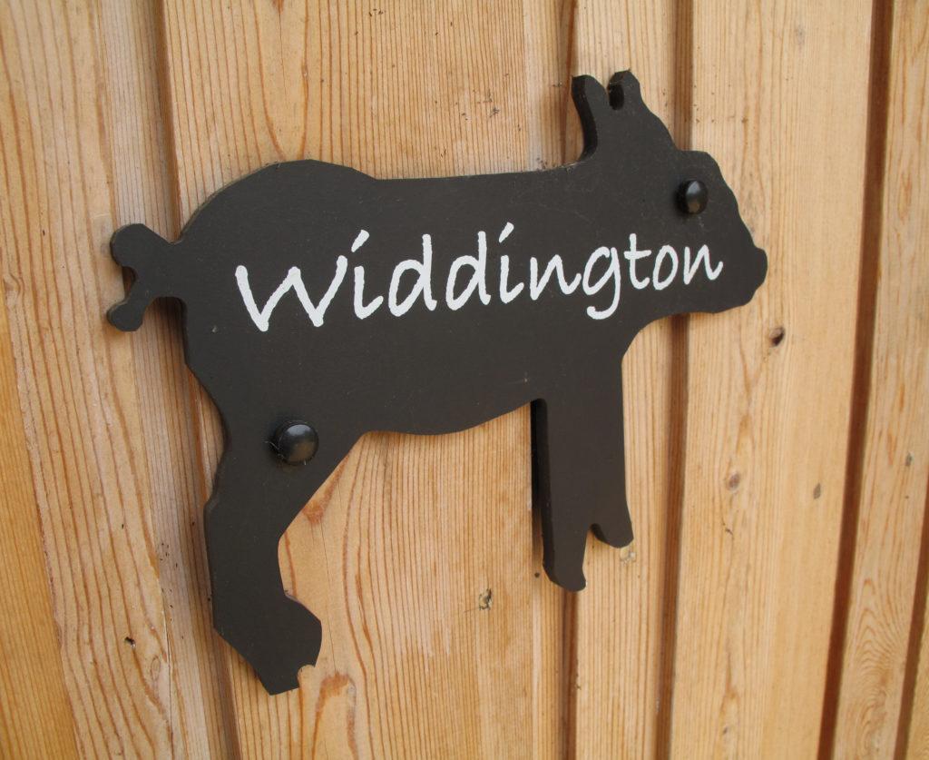 Widdington bedroom sign at Piglets Boutique B&B