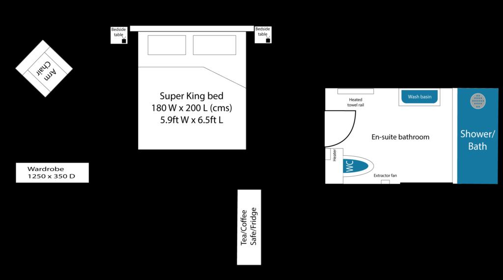 Radwinter bedroom layout at Piglets Boutiqe B&B