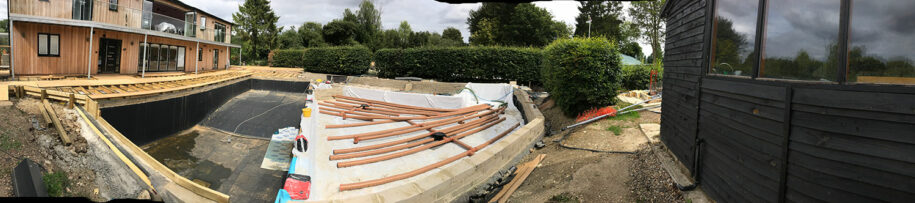 Swimming pond pipes are laid