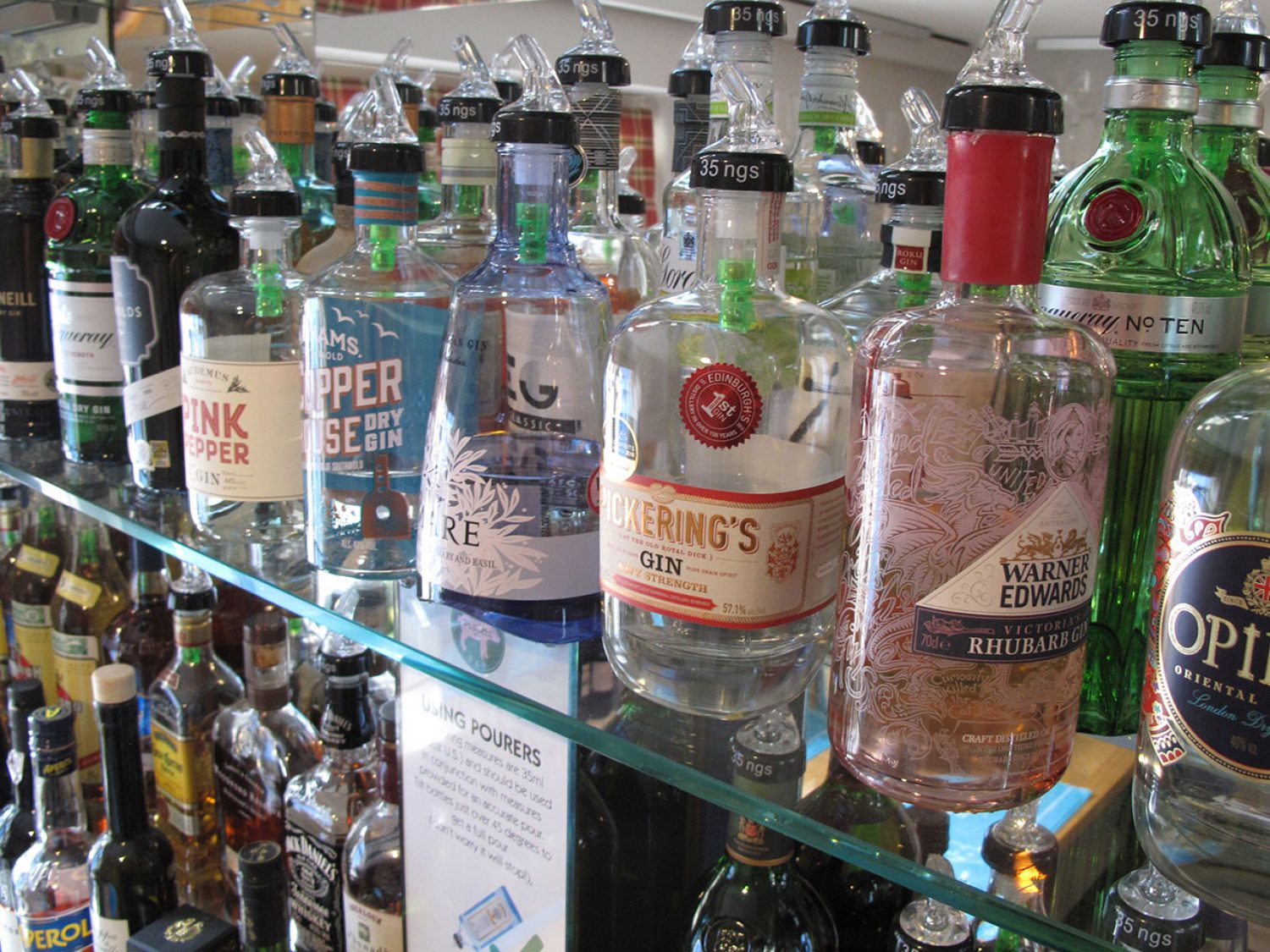 Gin library at Piglets Boutique B&B
